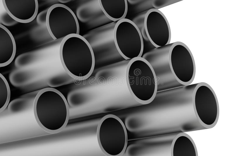Pile de tuyaux en métal rendu 3d sur le fond blanc illustration de vecteur