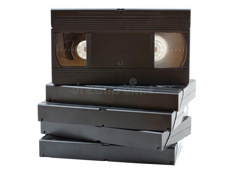 Pile de vieilles cassettes vidéo photographie stock libre de droits