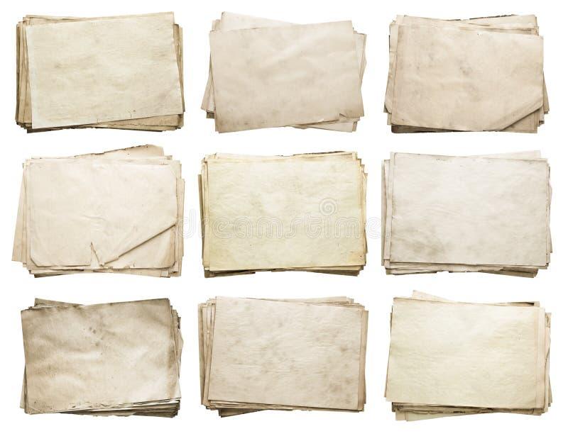 Pile de vieux papiers réglés photographie stock libre de droits