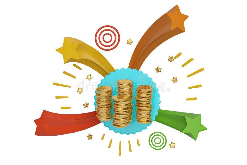 Pile della moneta del bordo e di oro delle stelle illustrazione 3D illustrazione di stock