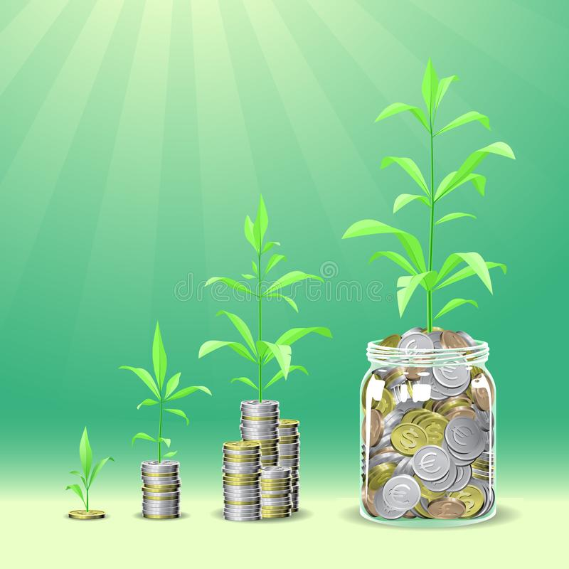 Pile delle monete con le piante che crescono sulla cima fotografia stock