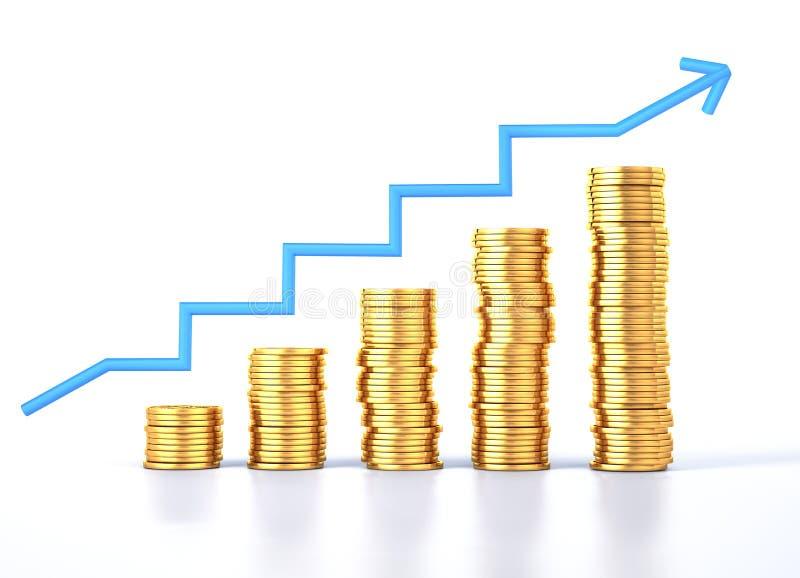 Pile delle monete del dollaro dell'oro con la freccia del grafico illustrazione vettoriale