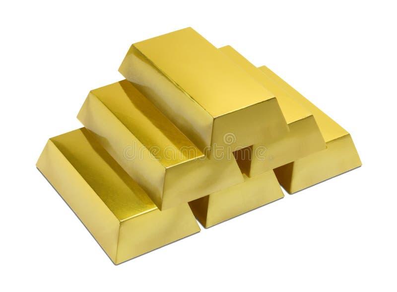 Pile des bars d'or images stock