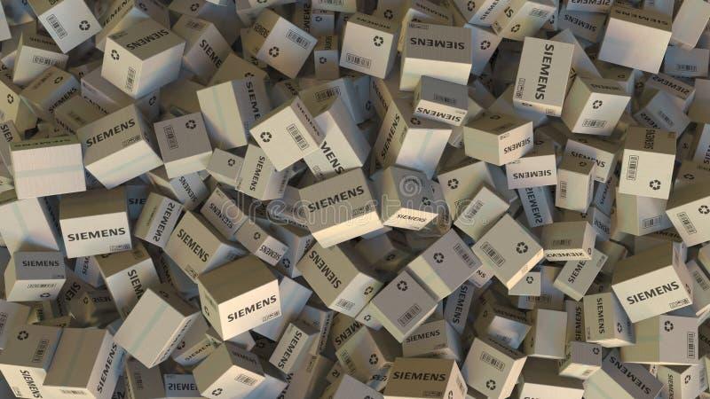 Pile des boîtes avec le logo de SIEMENS Rendu 3D éditorial illustration stock