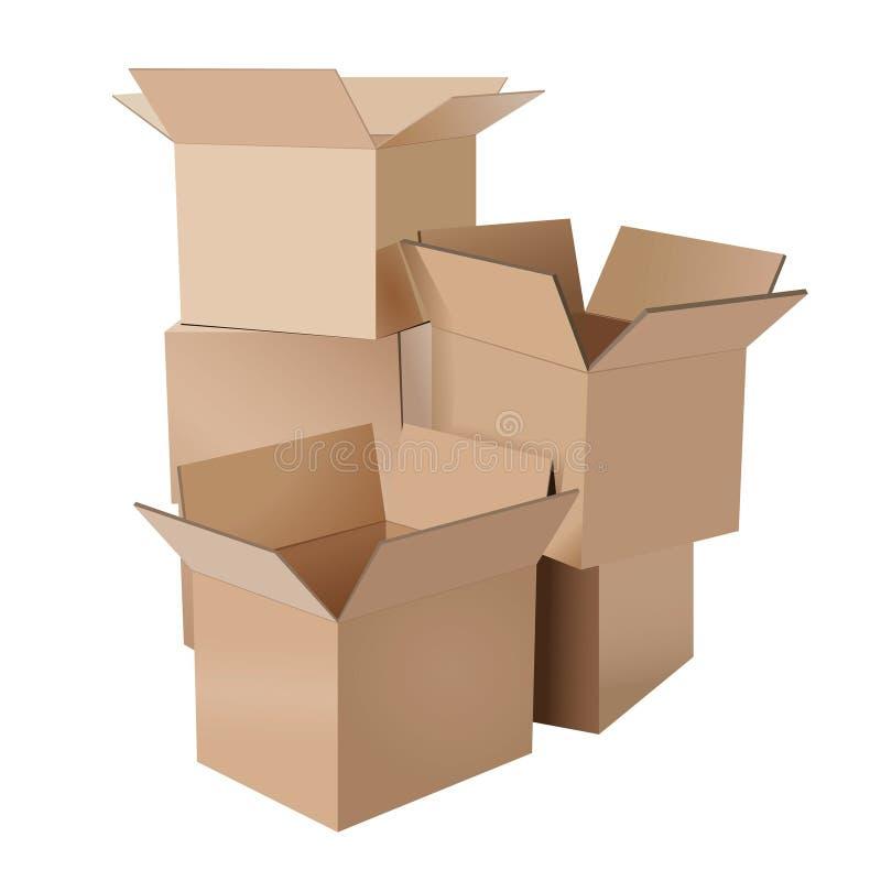 Pile des boîtes en carton illustration de vecteur
