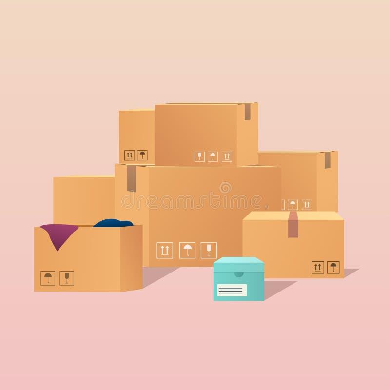 Pile des boîtes en carton scellées empilées de marchandises Conception plate moderne illustration de vecteur