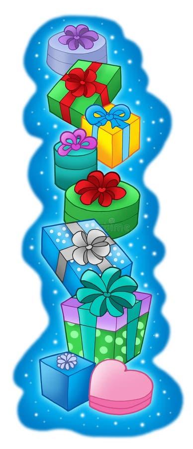 Pile des cadeaux de Noël en fonction illustration stock