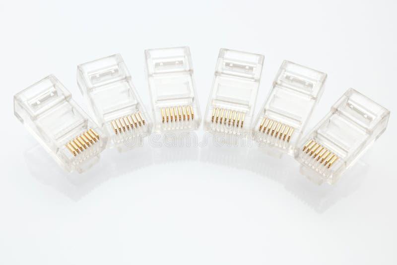 Pile des connecteurs de l'Ethernet RJ45 photo stock