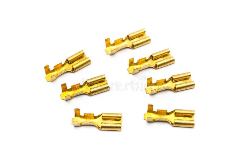 Pile des connecteurs de terminal de cuir embouti d'or photo stock