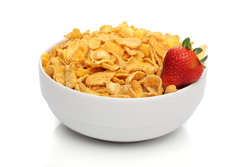 Pile des cornflakes sur une cuvette photo libre de droits