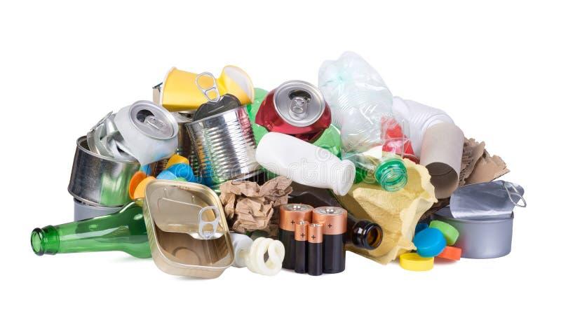 Pile des déchets d'isolement sur le fond blanc photos libres de droits