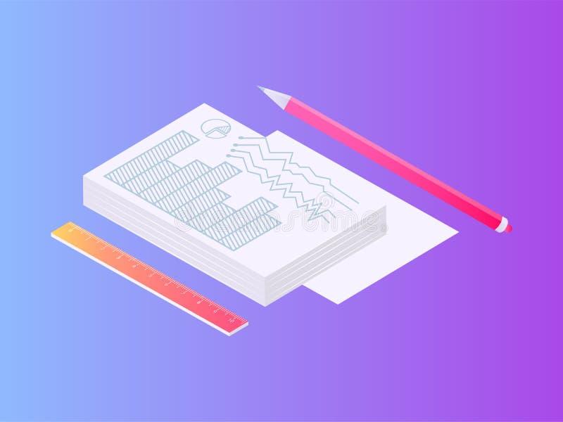 Pile des documents sur papier avec l'ensemble de crayon et de règle illustration libre de droits
