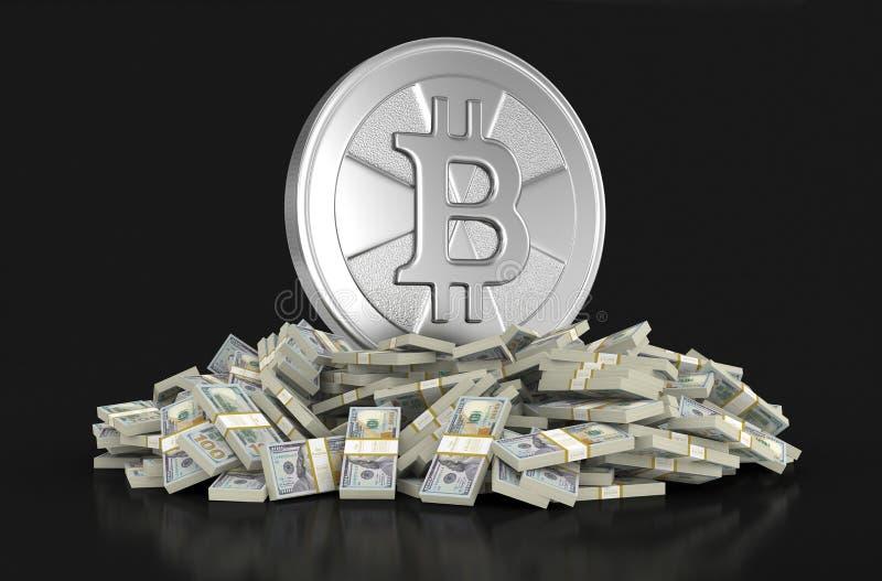 Pile des dollars et du Bitcoin illustration libre de droits
