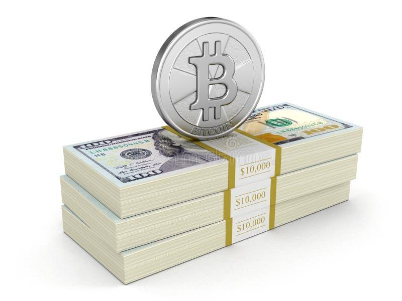 Pile des dollars et du Bitcoin illustration de vecteur