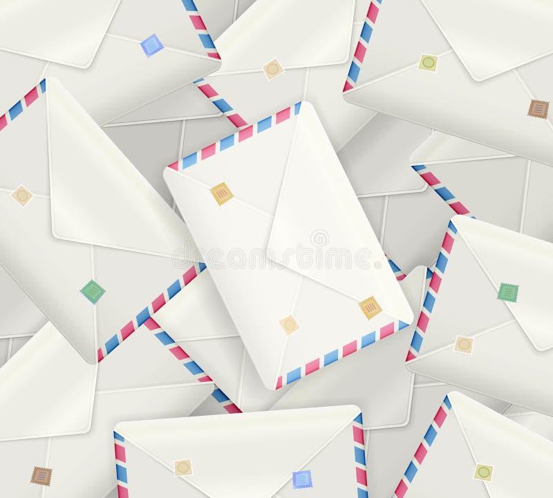 Pile des enveloppes réalistes détaillées de courrier, enveloppes réalistes de courrier, illustration de vecteur