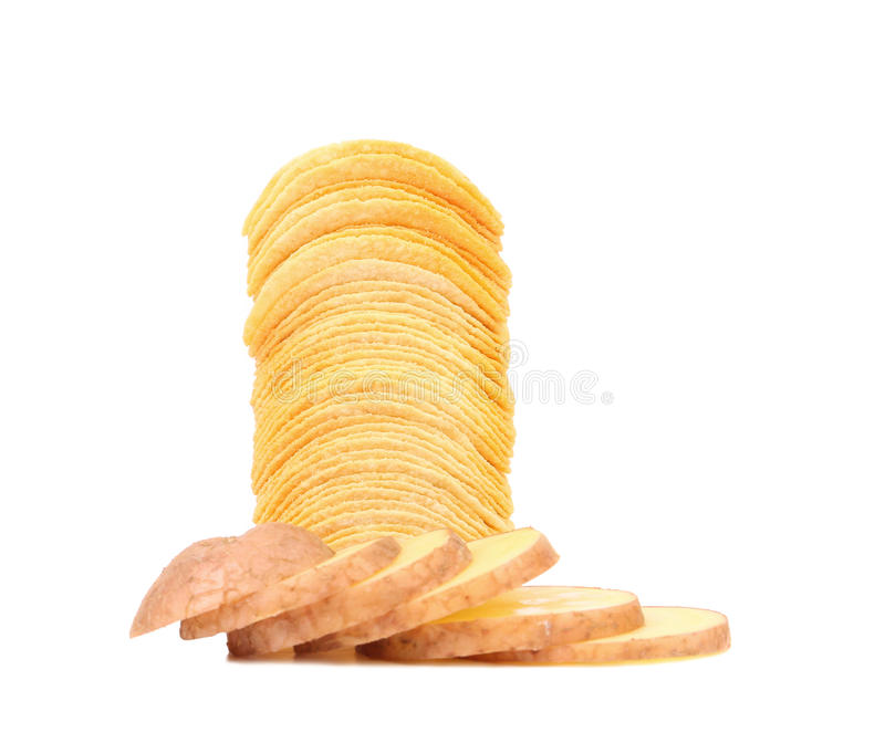 Pile des frites et de la pomme de terre coupée en tranches. image stock
