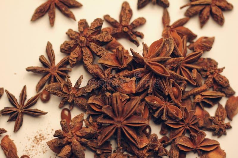 Pile des fruits et des graines d'anis d'étoile image libre de droits