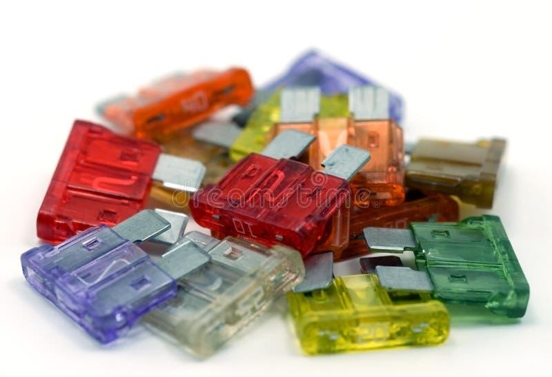 Pile des fusibles colorés image stock