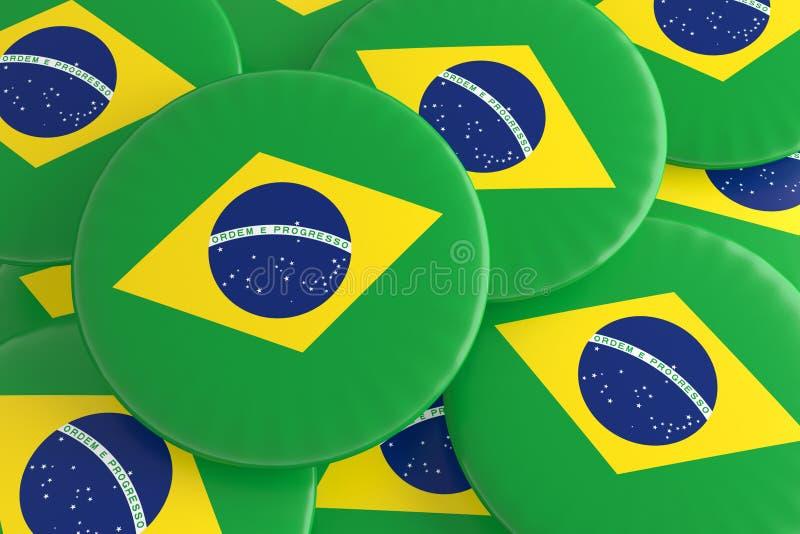 Pile des insignes de drapeau du Brésil illustration de vecteur