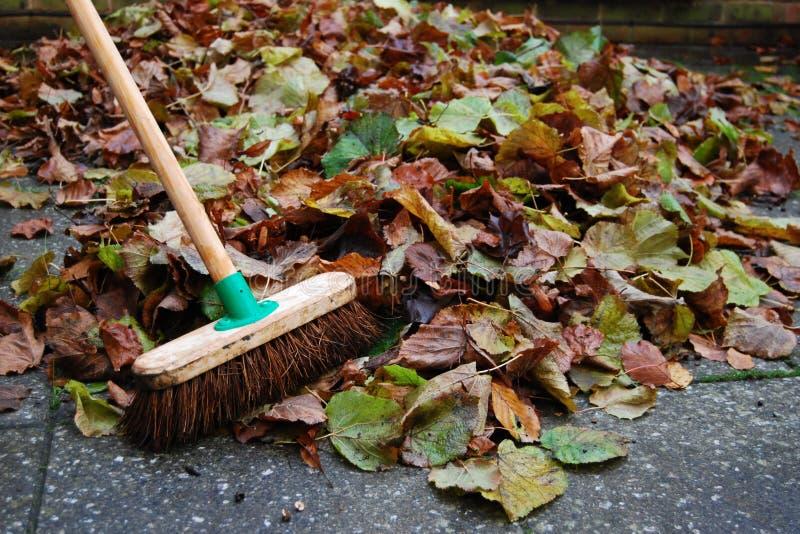 Pile des lames d'automne sur le patio d'arrière-cour avec le balai photos stock