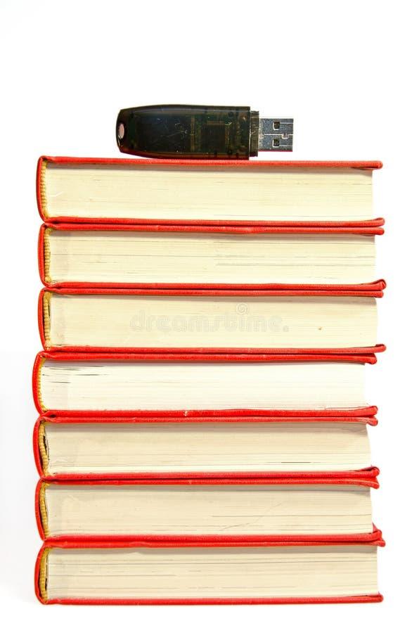 Pile des livres avec la commande instantanée sur le dessus images libres de droits