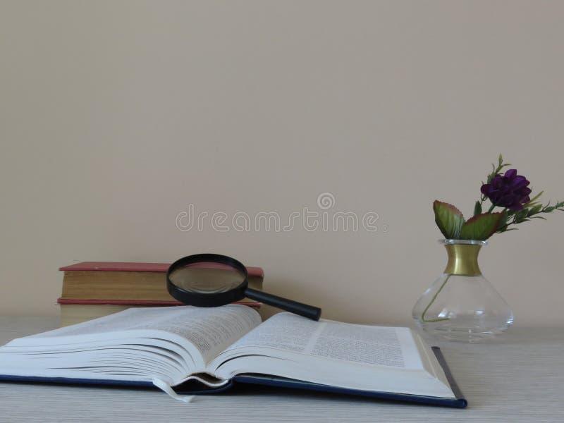 Pile des livres, de la loupe, de la loupe et des fleurs photo stock