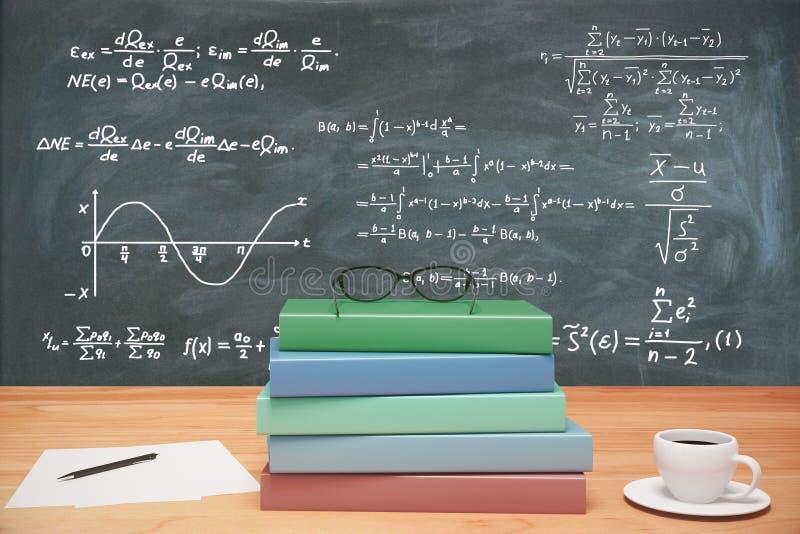 Pile des livres, des lunettes et de la tasse de café colorés sur t en bois photo stock