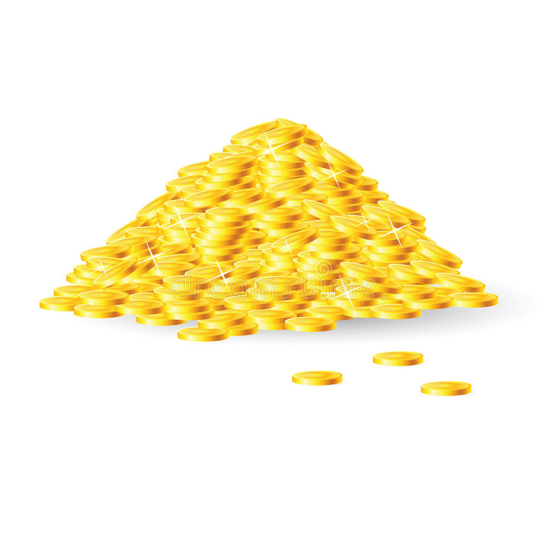 Pile des pièces d'or illustration de vecteur