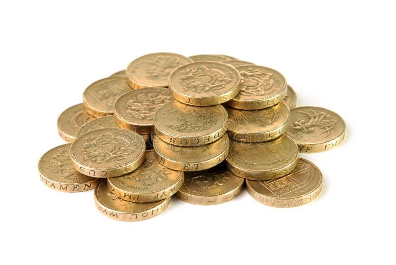 Pile des pièces de monnaie de livre britannique photographie stock