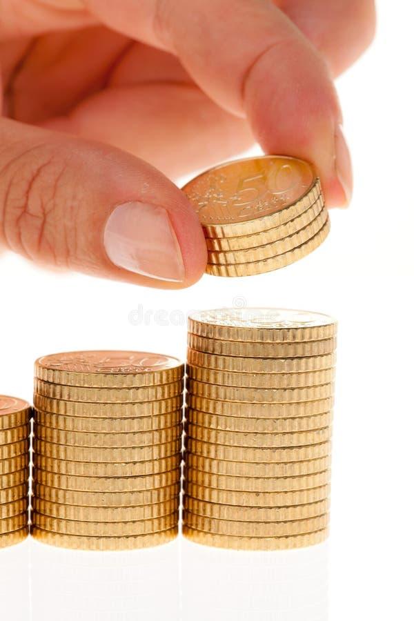 Pile Di Euro Monete Immagini Stock Libere da Diritti