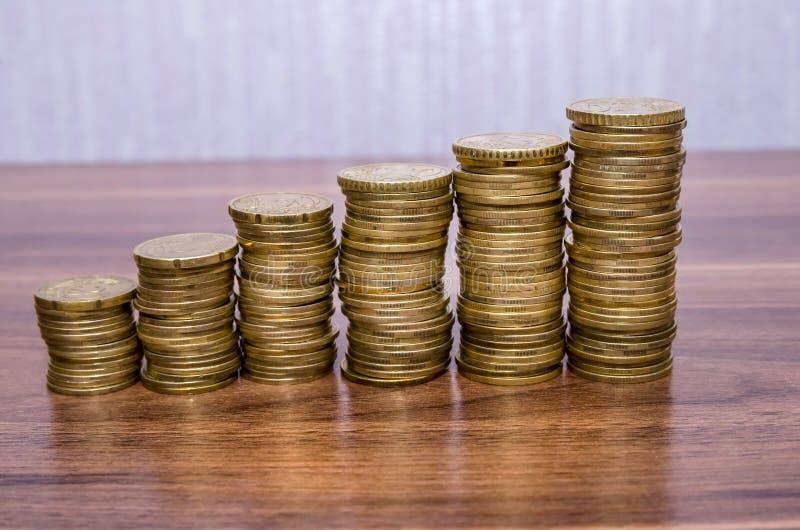 Pile di euro monete dorate fotografie stock