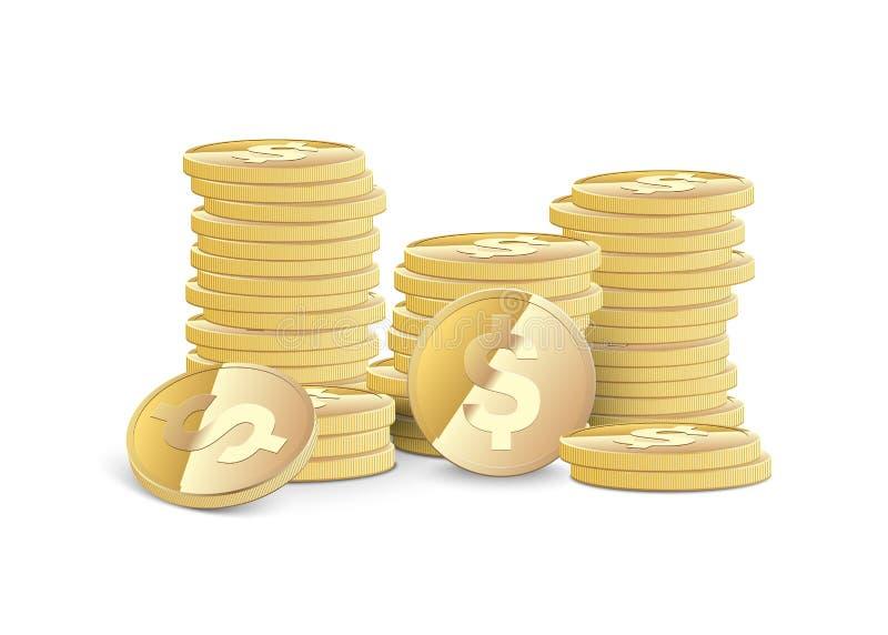 Pile di monete del dollaro illustrazione vettoriale