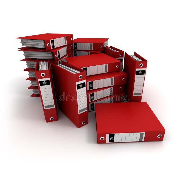 Pile di raccoglitori di anello rossi illustrazione di stock