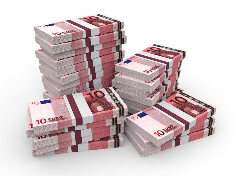 Pile di soldi Dieci euro illustrazione vettoriale