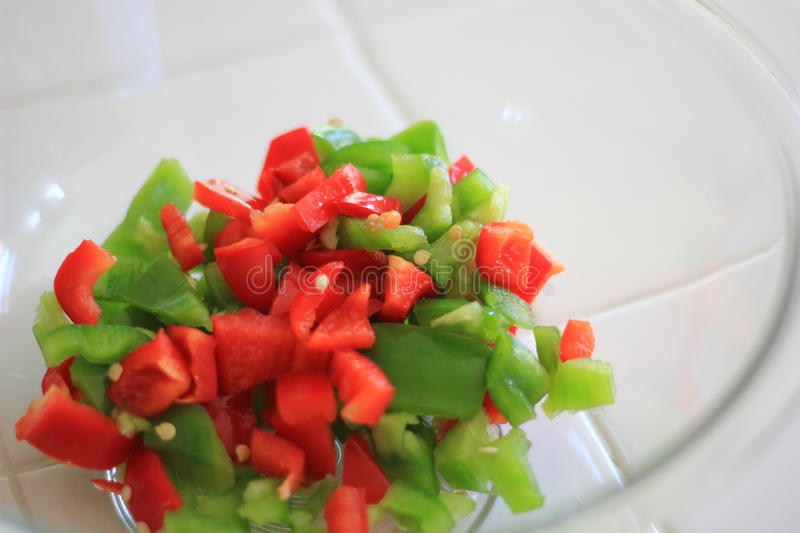 Pile of Diced Bell Peppers stock images