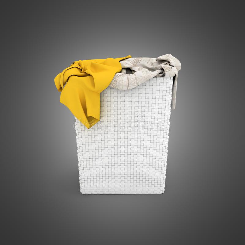Pile of dirty clothes in a washing basket  on black gradient background 3d render royalty free illustration