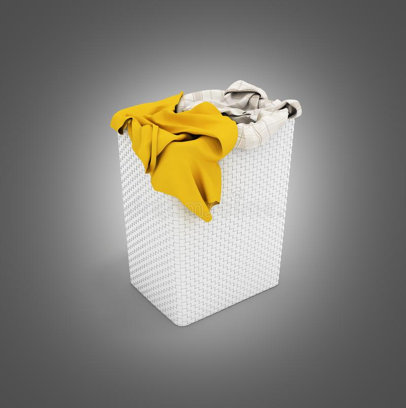 Pile of dirty clothes in a washing basket isolated on black gradient background 3d render stock illustration