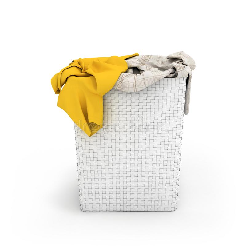 Pile of dirty clothes in a washing basket isolated on white background 3d render royalty free illustration