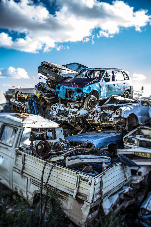 Pile of discarded old cars royalty free stock images