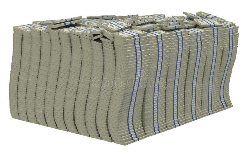 pile dollar isolerat enormt oss royaltyfri illustrationer