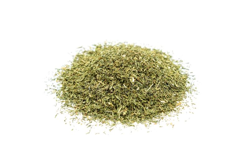 Pile of dried dill. Isolated on white background stock photos