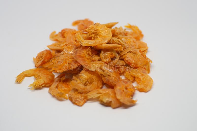 Pile of dried shrimp isolated on white background - Image. Pile of dried shrimp isolated on white background stock photos