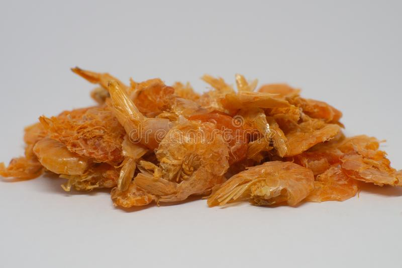 Pile of dried shrimp isolated on white background - Image. Pile of dried shrimp isolated on white background royalty free stock images