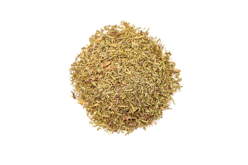 Pile of dried thyme. Isolated on white background, top view royalty free stock photo