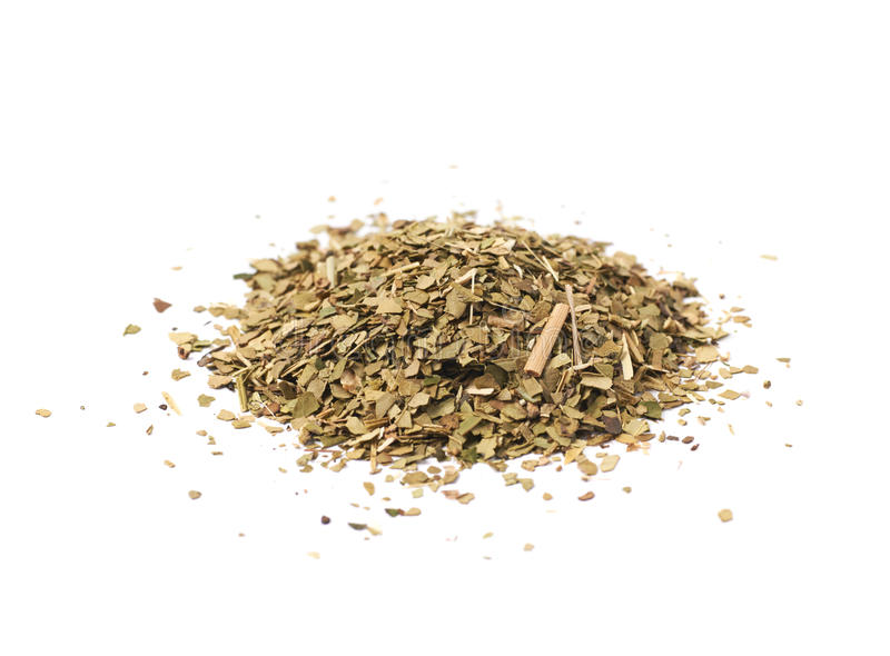 Pile of dry mate tea stock photography