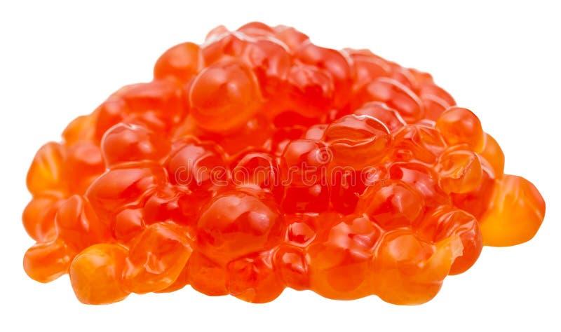 Pile du caviar rouge salé de poissons de truite d'isolement photographie stock
