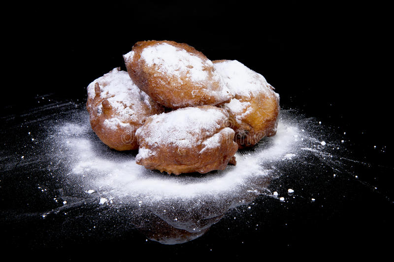 Pile of Dutch donut also known as oliebollen, traditional New Ye stock photo