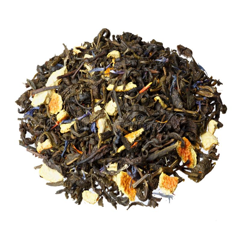 Pile of earl grey black tea isolated on white background. royalty free stock image