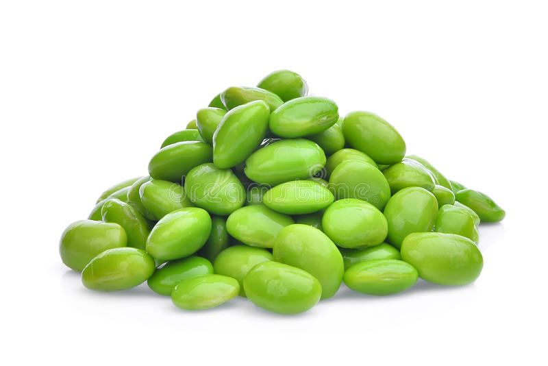 Pile of edamame green beans seeds or soybeans isolated. On white background stock image
