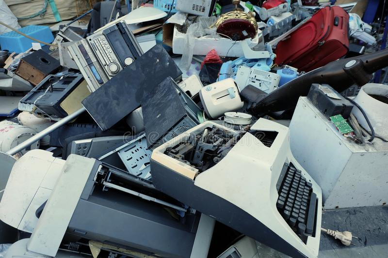 Pile of electronic waste, Motherboard computer and cpu microchips electronic equipment, Printed Circuit Board royalty free stock images